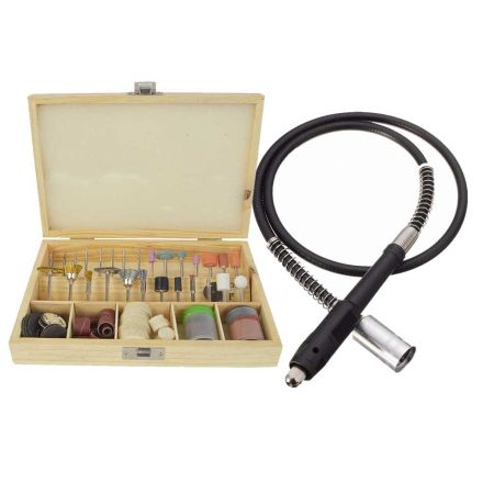 Hardin HD-100RA-KIT 100 Piece All-Purpose Universal Rotary Accessory Kit in Wooden Box with Flexible Drill Drive Shaft