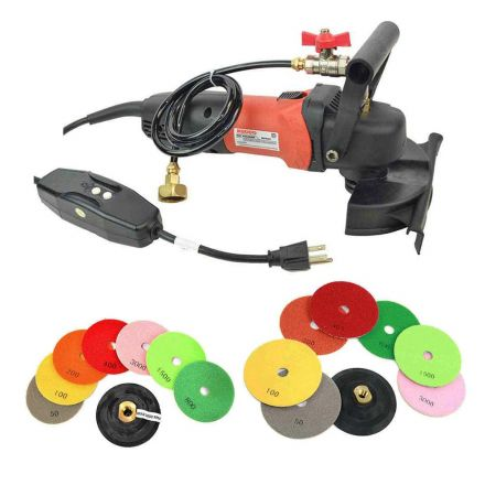 Specialty Diamond WP800-KIT Variable Speed 110V, 1000-4000 RPM Wet Polisher with 4 & 5 Inch Diamond Polishing Pads